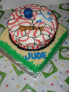 A Baseball Birthday Party - baseball cake
