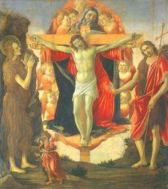 Sandro Botticelli - Trinität with Maria Magdalena, Johannes the Täufer and Tobias with the angel