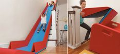 An Instant Slide Makes Stairs Even Better Than a Firehouse Pole