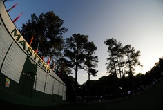 The sun rises over the scoreboard during Monday's practice round of the 2012 Masters Tournament at Augusta National Golf Club on April 2, 2012, in Augusta, Ga. http://www.Augusta.com