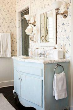 Pretty powder blue sink console