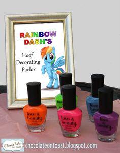 Rainbow manicure for a Rainbow Dash. My Little Pony birthday party