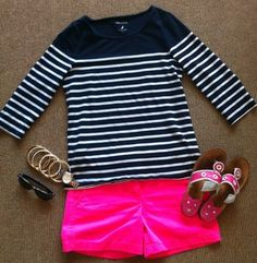 short, jack rogers, summer fashions, color combos, style, summer outfits, preppy fashion, the navy, stripe