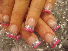 Nail Art: March 2011 #baby flares #wide #acrylic nails love the nails and the sparkly pink  nails awesome omg that's mee