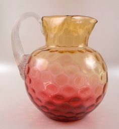 Amberina Glass Inverted Thumbprint Ball Pitcher