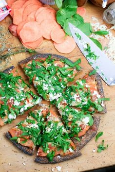 Sweet Potato and Spinach Pizza  http://thehealthyfoodie.net/2011/11/27/sweet-potato-and-spinach-pizza/
