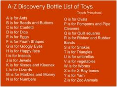 A to Z Toys for the Discovery Bottle by Teach Preschool
