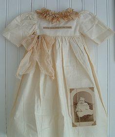 Vintage christening gown display