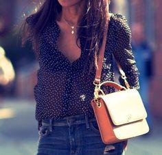 polka dot blouse / denim / cognac