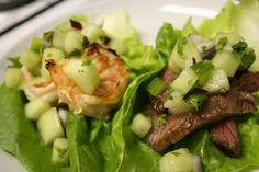 Steak and Shrimp Lettuce Wraps with Cucumber-Melon Salsa by Tara O'Keefe #Lettuce_Wraps #Steak #Shrimp #Tara_O_Keefe