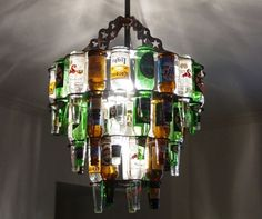Beer bottle chandelier....lol