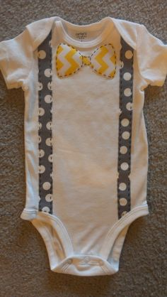 I'm in love.  Baby Bow Tie and Suspenders Onesie Bodysuit - You choose fabric
