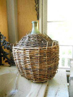 Antique French Demi-John Wicker Wrapped Green Glass Bottle