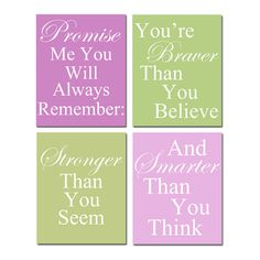 Set of Four Coordinating Winnie The Pooh Quote Prints - for canvases in the nursery