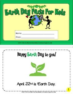 Earth Day Facts For Kids Mini Book