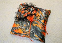 Orange Camouflage Pillow  Camo Pillow  Camo Wedding  by IDoDoodads, $22.95