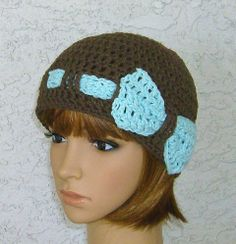 Sale  All Cotton Brown Hat with Pale Aqua Bow by CrochetHatsForYou,