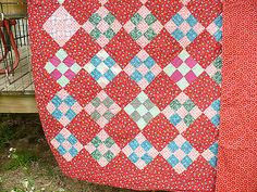 Red Calico 9 Patch Quilt 71x81 | eBay