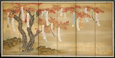 Flowering Cherry and Autumn Maples with Poem Slips (1) Tosa Mitsuoki (c. 1654/81)