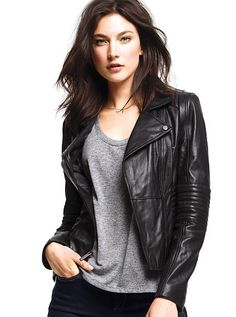Victoria secret leather moto jacket