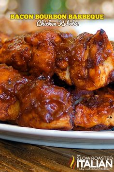 Bacon Bourbon Barbecue Chicken Kabobs from theslowroasteditalian.com #grilling #bacon #chicken