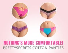 The most comfortable choice!  Cotton Panties, let you breathe!  Shop Now at http://prettysecrets.com/lingerie/panties/cotton