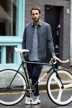 #Bike #Hipster #style #menswear #looks #mood #trend #fashion #beard #denim #shirt #outerwear #quilting #cord #chambray