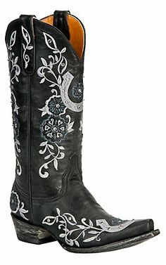 Old Gringo® Ladies Black w/ Silver Embroidered Lucky Horseshoe Snip Toe Boot | Cavender's Boot City