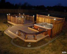 deck lighting, deck design, garden