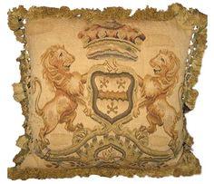Lion crest aubusson pillow