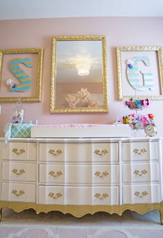 Project Nursery - Personalized Striped Letters Outlined with Gold Frames
