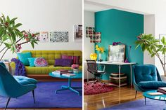 Cute, small and funky | Colorful Living Rooms decor, idea, living rooms, design interiors, colors, homes, apartments, live room, color scheme