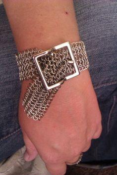 Silver Chainmaile belt bracelet. $30.00, via Etsy.