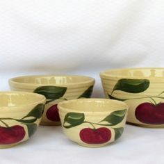 Watt Pottery Apple pattern Yellow ware vintag watt, potteri appl, watt potteri, appl collect, watt appl, antiqu, watt ware, appl set, appl kitchen