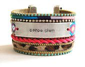 Friendship bracelet cuff with handstamped tag saying ''Carpe Diem'' with swarovski rhinestones and hair on hide leopard leather