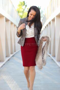 Dark red pencil skirt + 'greige' gray/beige blazer + cream blouse + neutral accessories