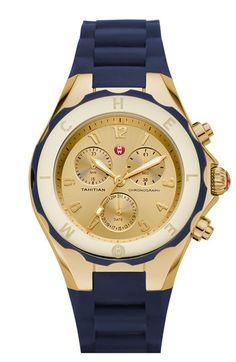 MICHELE 'Tahitian Jelly Bean' 40mm Gold Watch