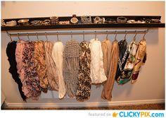 Closet scarf organization