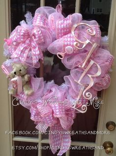Baby Girl Wreath, Baby Wreath, Pink and White, Hand painted Girl letters, Deco Mesh, Nursery Wreath, Baby Shower,. $65.00, via Etsy.