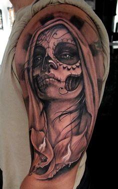 day of the dead lady skull tattoo by Stefano of New York City, NY
