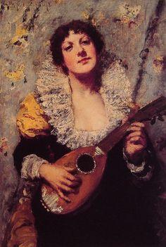 ♪ The Musical Arts ♪ music musician paintings - William Merritt  Chase | The Mandolin Player