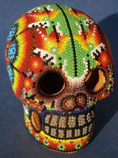Huichol Beaded Clay Skull #diadelosmuertos #dayofthedead skull, animals, art crafts, mexican folk art, art huichol, calavera, hunt, huichol art, art pieces