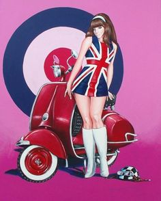 "http://www.etsy.com/people/StephanSandiaresArt Racer Girl UK - ""Mods of the World Unite!"" - 2009 - Acrylic on canvas - 16""x20"" - framed Original and one of a kind Scooter and Mod inspired composition painted as a response to the hot rods and leopard print prevalent in contemporary Pin-Up art. Besides, who doesn't love Go-Go boots and Scooters?"