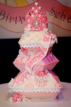 Check out this amazing cake! Princess Themed 1st Birthday Party Lots of Cute Ideas via Kara's Party Ideas   KarasPartyIdeas.com #PrincessParty #DisneyPrincessParty #Princesscake