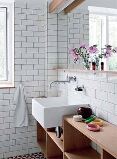 Subway Tile Bathroom. love this sink