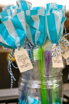 When Hosting a Candy Themed Birthday Party it's a good idea to give out toothbrushes as favors.  (Tied with #BakersTwine from #PickYourPlum #PYP.)