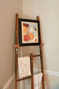wooden ladder, diy crafts, easel idea, ladder idea