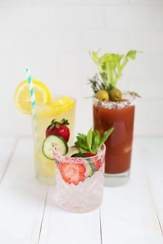 Ginger Beer Lemonade, Strawberry Cucumber Limeade, Classic Bloody Mary Mocktails!