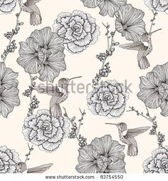 floral background, floral patterns, illustrations, royalty, backgrounds, seamless pattern, flowers, seamless floral, birds