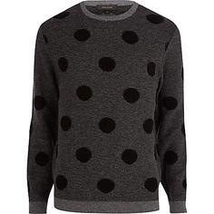 Dark grey polka dot jumper